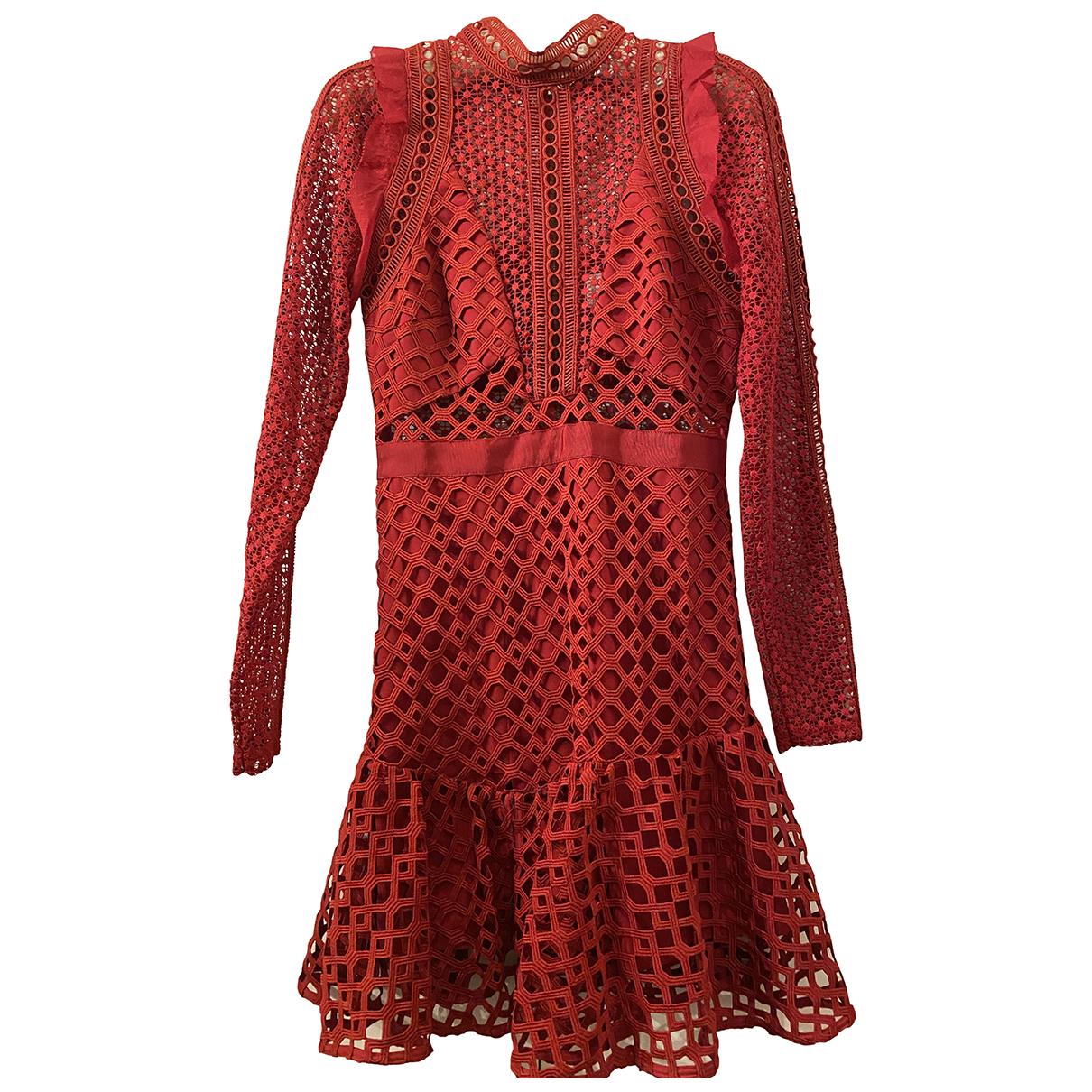 Self Portrait \N Kleid in  Rot Polyester