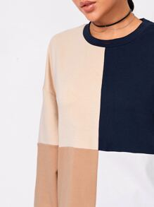 Cut And Sew Drop Shoulder Longline Sweatshirt
