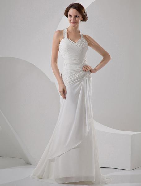 Milanoo Vestido de novia de color champaña de saten y de gasa estilo trompeta/sirena con escote en V y con escote Halter hasta el suelo