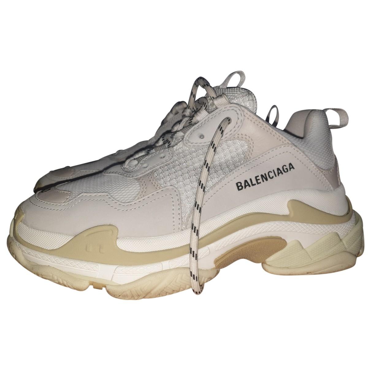 Balenciaga - Baskets Triple S pour femme en cuir - ecru