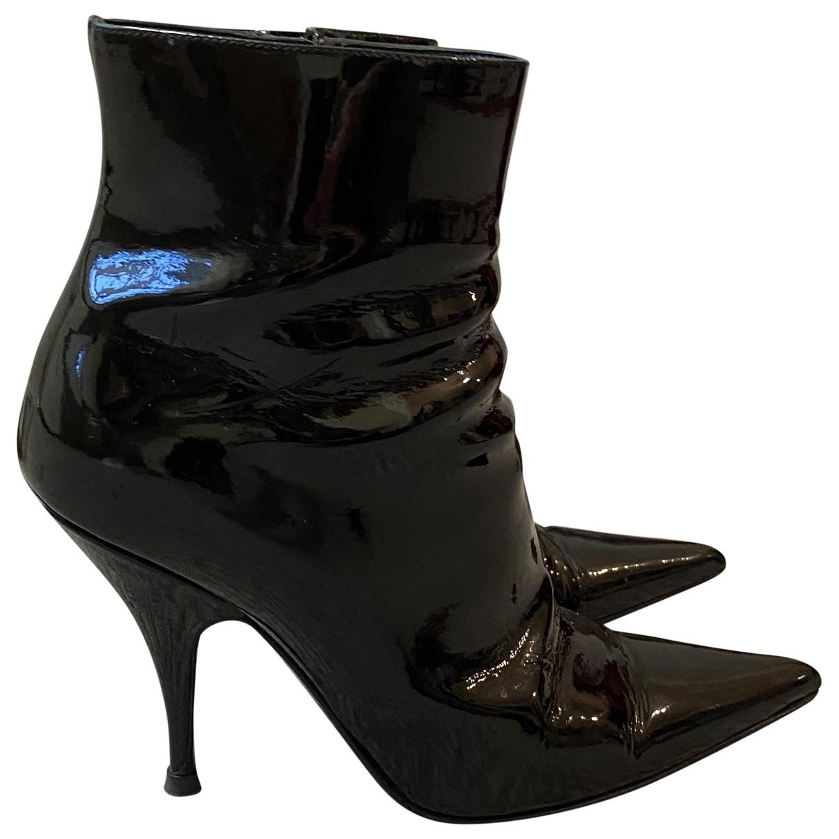 Dior - Boots   pour femme en cuir verni - noir