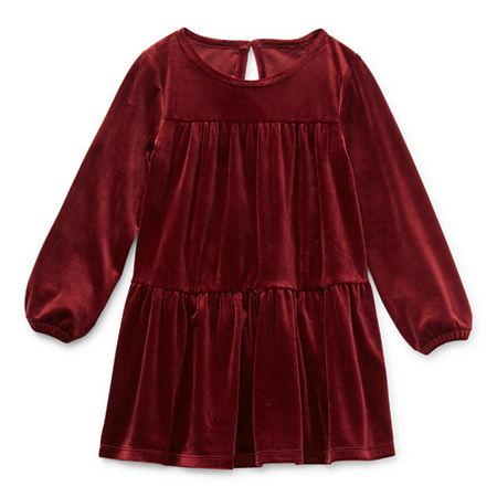 Okie Dokie Toddler Girls Long Sleeve Shift Dress, 4t , Red