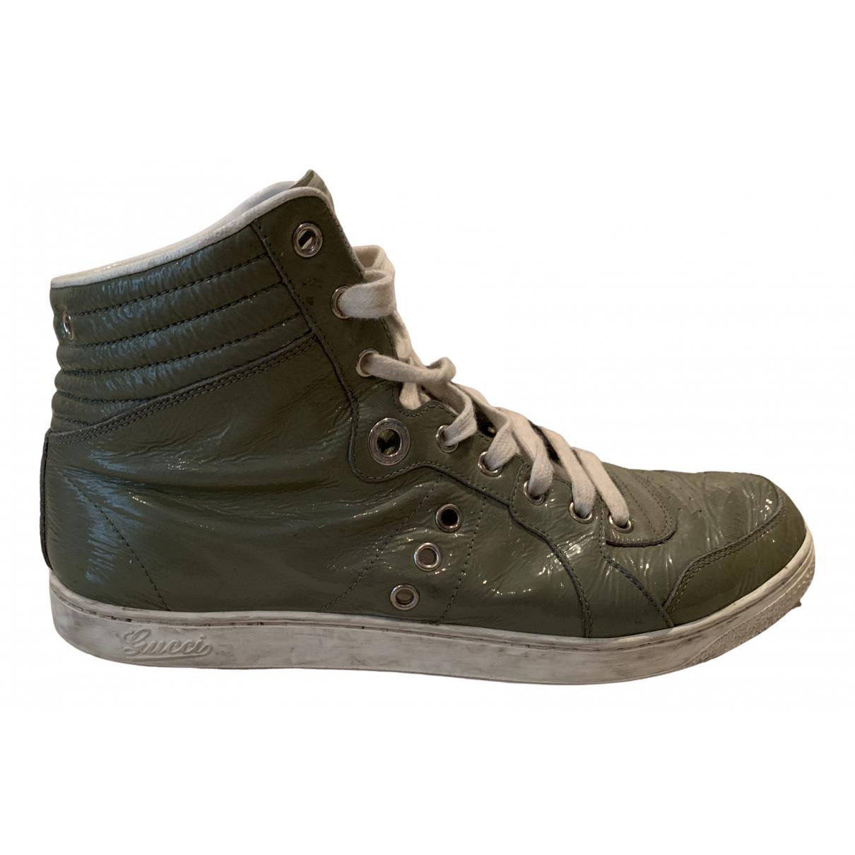 Gucci - Baskets   pour homme en cuir verni - gris