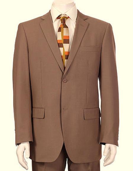 Men's Vitali Single Breasted Authentic 2 Button Tan Slim Fit Suit