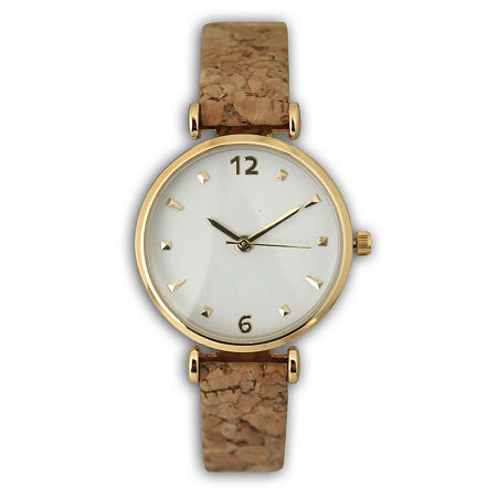 Olivia Pratt Cork Womens Brown Strap Watch-60000, One Size , No Color Family