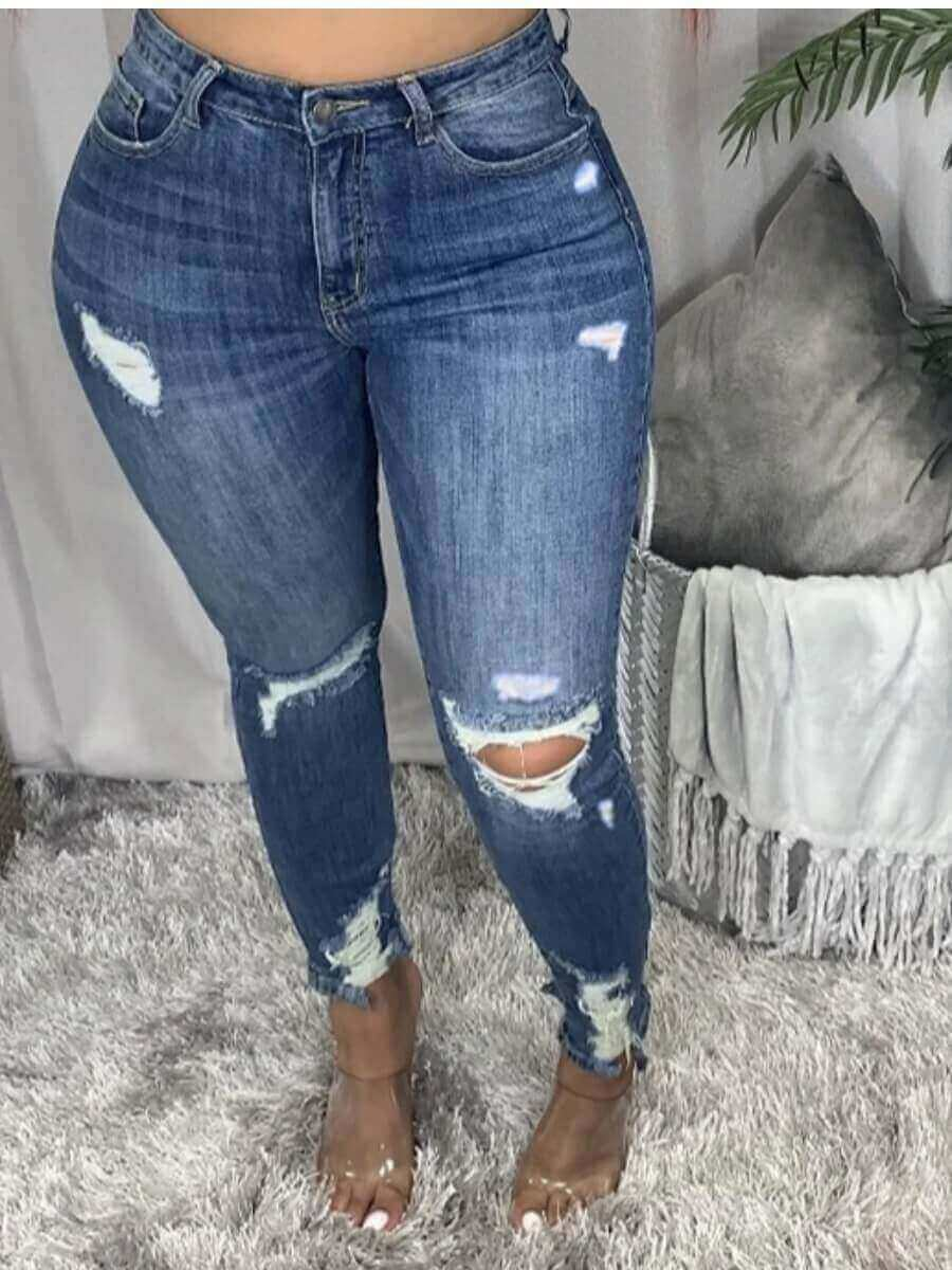 LW Lovely Street Hollow-out Skinny Deep Blue Jeans