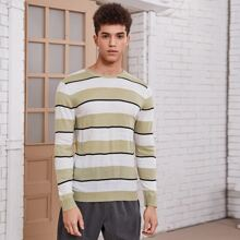 Guys Color Block Striped Sweater