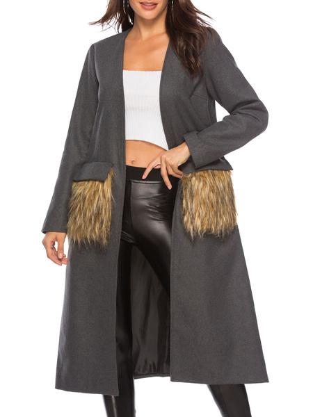 Milanoo Abrigo de invierno para mujer, cuello vuelto gris, manga larga, bolsillos, abrigo largo