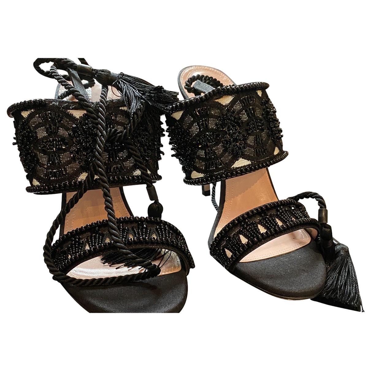 Alberta Ferretti \N Black Glitter Sandals for Women 39 IT