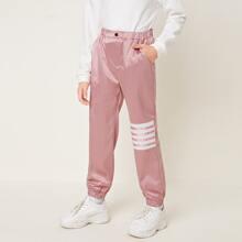 Hose mit elastischer Taille und Streifen
