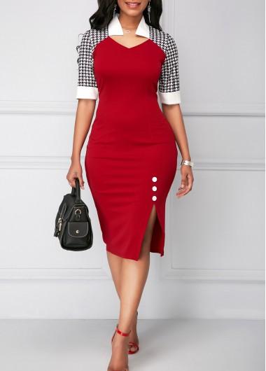 Christmas Rosewe Women Red Houndstooth Printed Side Slit Sheath Holiday Dress Xmas Half Sleeve Knee Length Work Dress - M