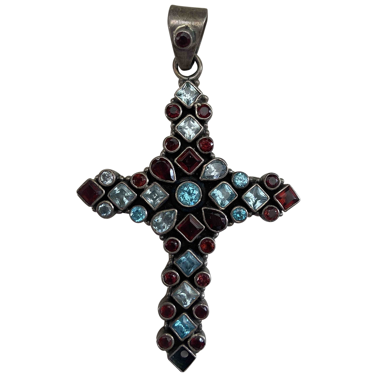 Non Signe / Unsigned Croix Anhaenger in  Bunt Silber