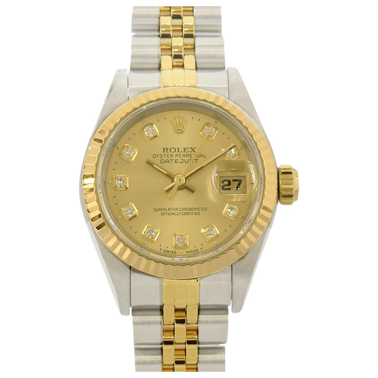 Rolex - Montre Datejust 31mm pour femme en or et acier - dore