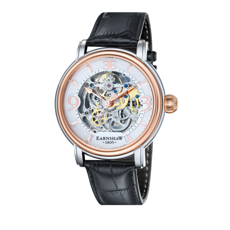 Thomas Earnshaw Men's Longcase ES-8011-06 Silver Leather Hand Wind Dress Watch