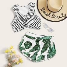 Gestreiftes Twist Top mit Palm Shortie Bikini Set