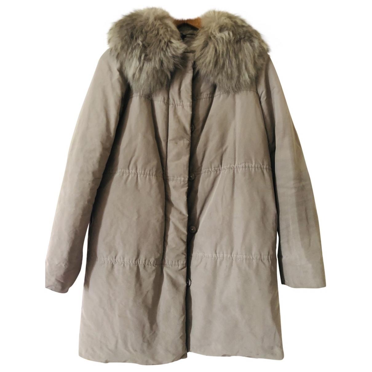 Moncler - Manteau Long pour femme en racoon - kaki