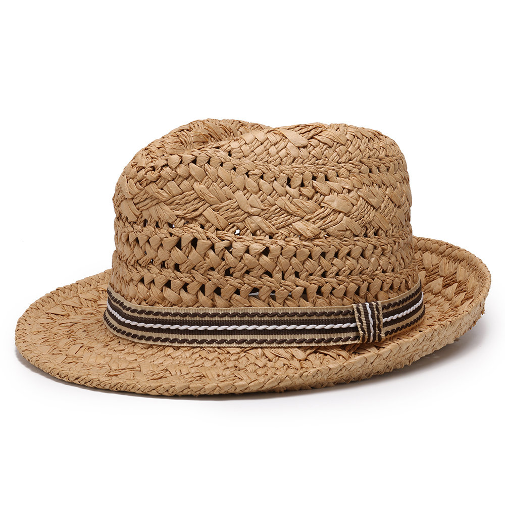 Men Straw Sunscreen Jazz Top Cap Outdoor Summer Casual Travel Breathable Hat