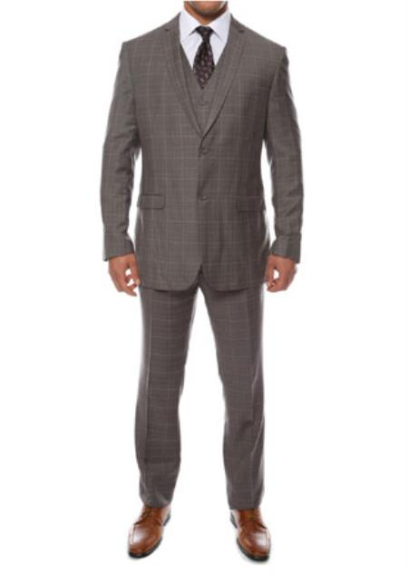 Zonettie Lazio Charcoal 3 Piece Vested Window Pane Slim Plaid Suit