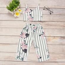 Kleinkind Maedchen Cami Top mit Streifen, Blumen Muster & Hose
