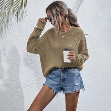 Pointelle Knit Drop Shoulder Sweater