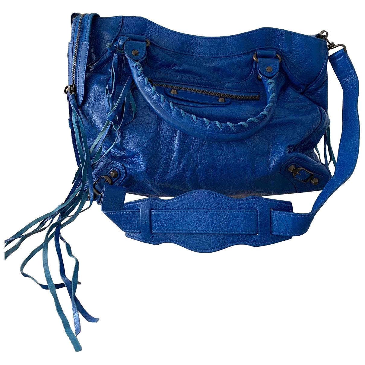 Balenciaga Work Blue Leather handbag for Women \N