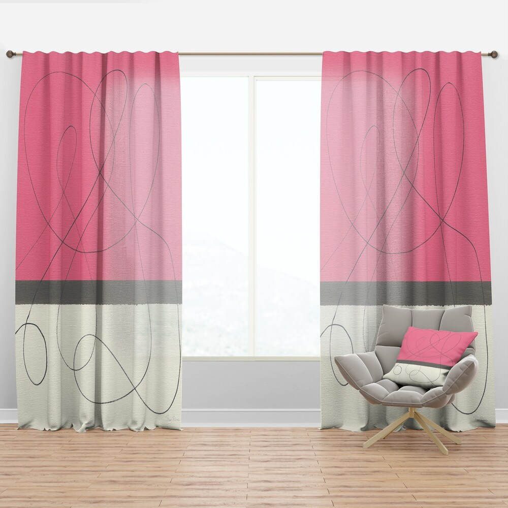 Designart 'Geometric Neapolitan II' Shabby Chic Curtain Panel (50 in. wide x 84 in. high - 1 Panel)