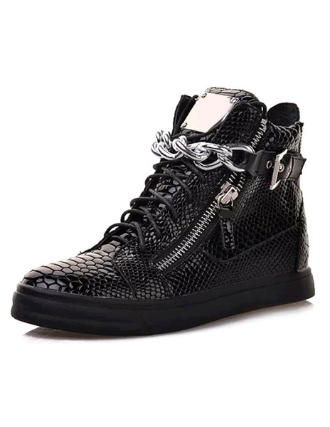 Milanoo Zapatillas de deporte 2020  para hombre Zapatos de cuero con cremallera