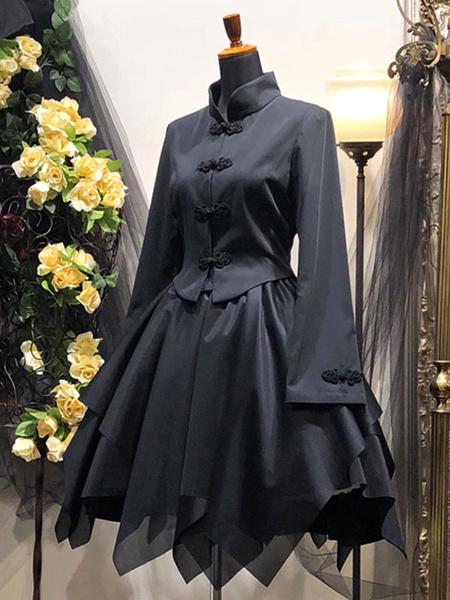 Milanoo Abrigos goticos de lolita Top de mezcla de algodon tejido negro Lolita Outwears