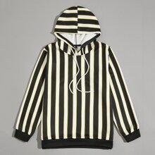 Men Vertical Striped Drawstring Hoodie