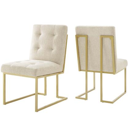 Privy Collection EEI-4151-GLD-BEI Gold Stainless Steel Upholstered Fabric Dining Accent Chair Set of 2 in Gold Beige