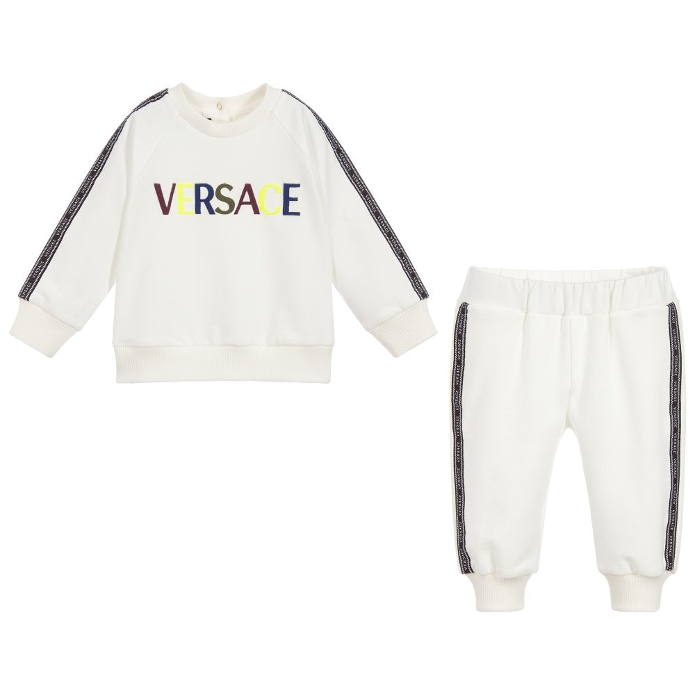 Versace Young Versace Baby Tape Trim Logo Tracksuit Size: 9-12 MONTHS, Colour: WHITE