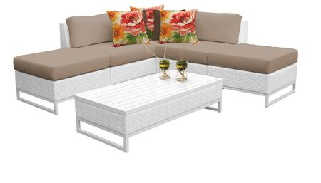 Miami MIAMI-06c-WHEAT 6-Piece Wicker Patio Furniture Set 06c with 2 Armless Chairs  2 Ottomans  1 Corner Chair and 1 Coffee Table - Sail White and