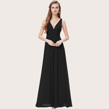 V-back Ruched Wide Waistband Prom Dress