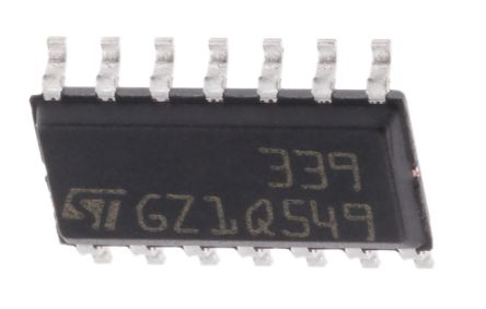 STMicroelectronics LM339D , Quad Comparator, CMOS/TTL O/P, O/P, 1.3μs 2 → 36 V 14-Pin SOIC (50)