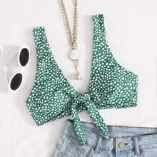 Bikini Top mit Dalmatiner Muster und Knoten vorn
