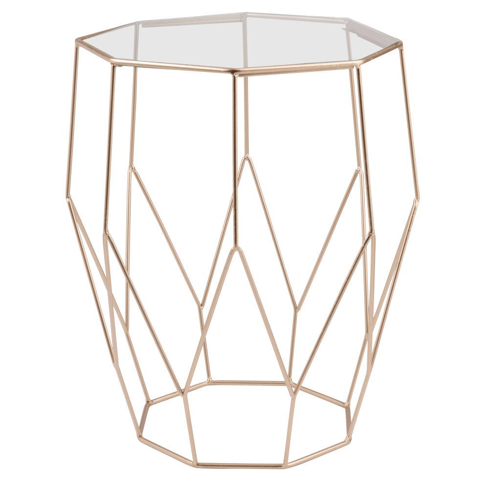 Beistelltisch aus Metalldraht und Glas