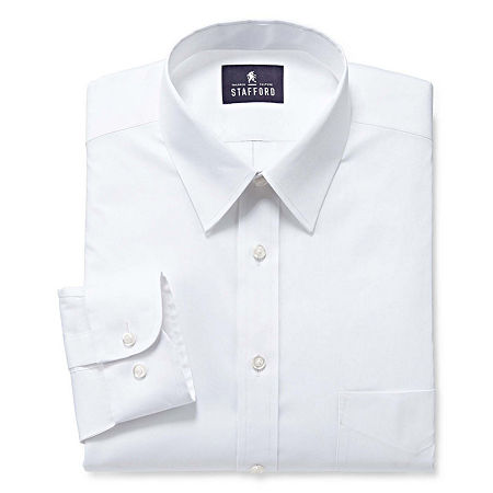Stafford Mens Comfort Stretch Big and Tall Dress Shirt, 16.5 36-37, White