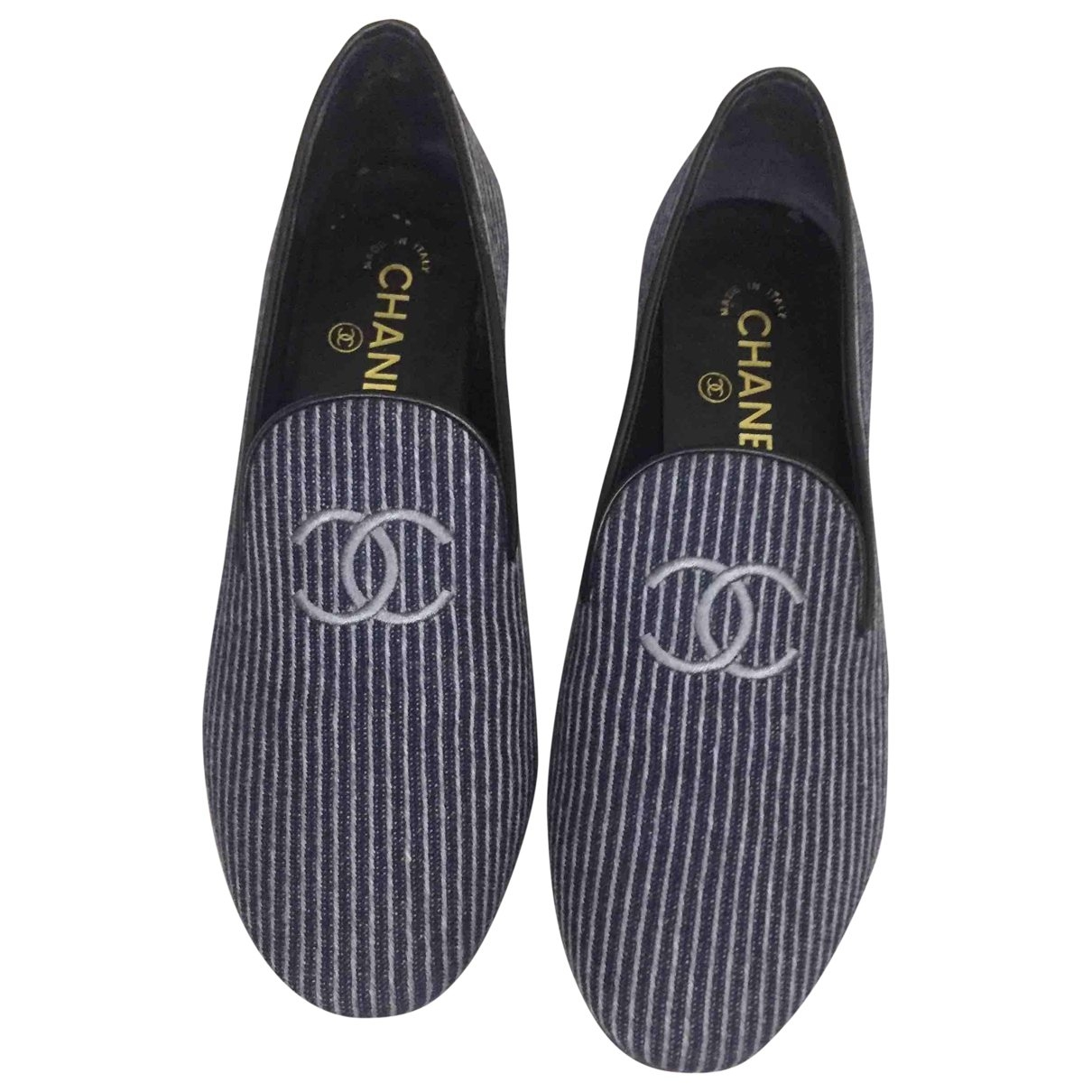 Chanel \N Blue Cloth Flats for Women 37.5 EU