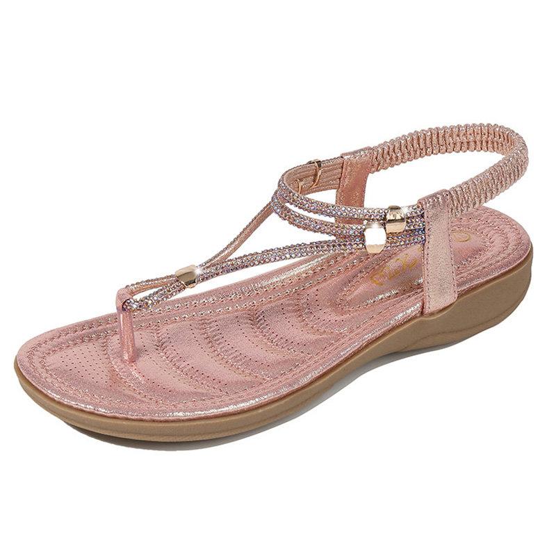 Women Casual Soft Rhinestone Clip Toe Sandals