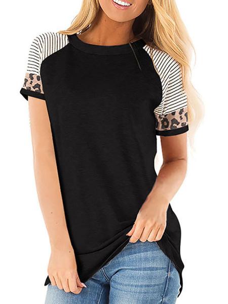 Milanoo Camiseta de manga corta con estampado de leopardo para mujer