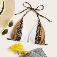 Colorblock Triangle Bikini Top