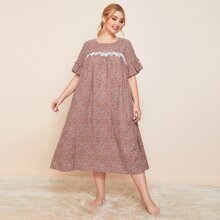 Plus Bell Sleeve Lace Trim Ditsy Floral Nightdress