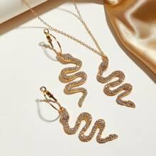 Collar con diseño de serpiente grabado con diamante de imitacion 3 piezas