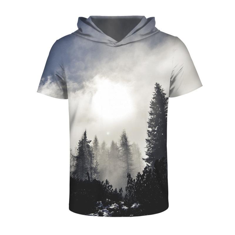Forest Morning Sunlight 3D Printed Short Sleeve for Men Hooded T-shirt