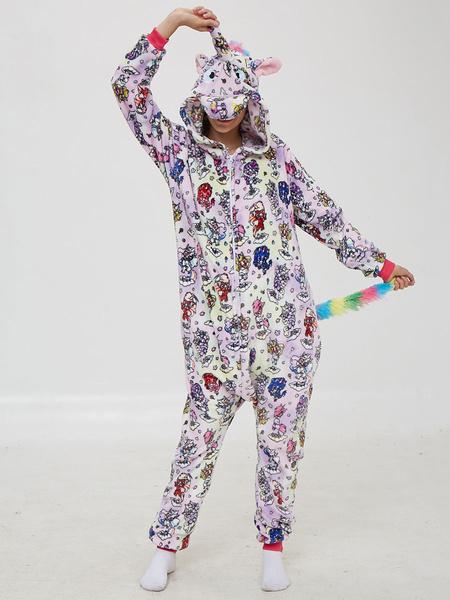 Milanoo Disfraz Halloween Onesie Kigurumi Pijama Imprimir Mono de franela de unicornio Disfraces de Kigurumi Carnaval Halloween