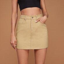 Slant Pocket Straight Denim Skirt
