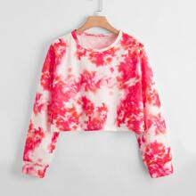 Crop Sweatshirt mit Batik