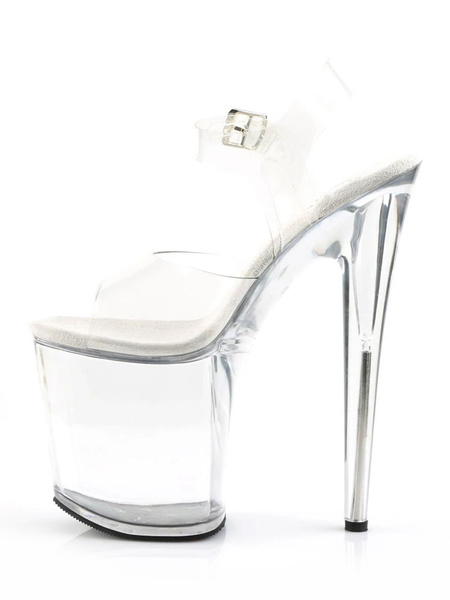 Milanoo Women Sexy Sandals White Peep Toe Stiletto Platform Sandals