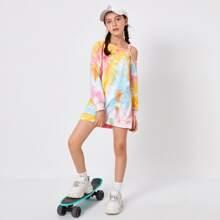 Girls Asymmetrical Neck Drop Shoulder Tie Dye Sweatshirt Dress