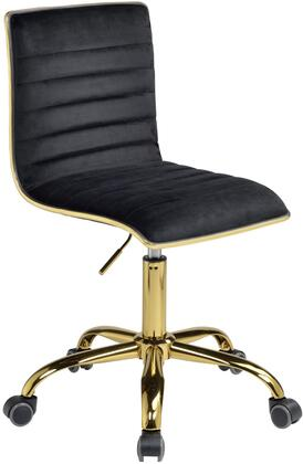 Alessio Collection 92516 Office Chair with 360 Degrees Swivel Seat  5-Star Caster Base  Foam Filled Seat Cushion  Gold Metal Tube Frame  Adjustable